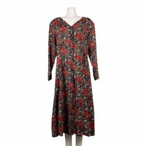 Vintage Floral Button Prairie Dress